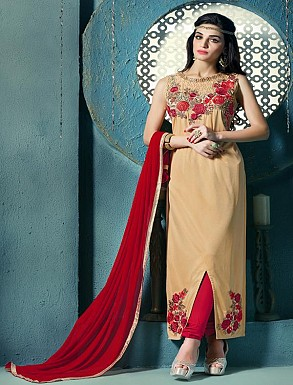Thankar Embroidered Designer Cream Straight Suits @ Rs1668.00