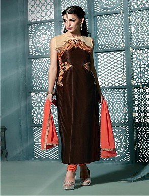 Thankar Embroidered Designer Brown Straight Suits @ Rs1853.00