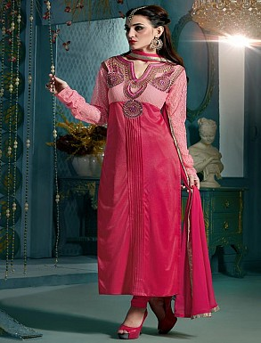 Thankar Embroidered Designer Pink Straight Suits @ Rs1853.00