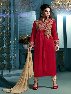 Thankar Embroidered Designer Red Straight Suits @ Rs1853.00