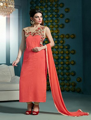 Thankar Embroidered Designer Peach Straight Suits @ Rs1853.00
