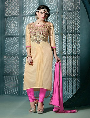 Thankar Embroidered Designer Cream Straight Suits @ Rs1853.00