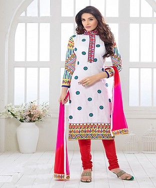 NEW ARRIVAL WHITE AND RED STRAIGHT SUIT@ Rs.1730.00