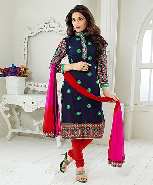 NEW ARRIVAL NAVY AND RED STRAIGHT SUIT @ Rs1730.00