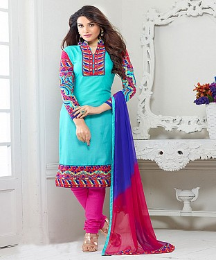 NEW ARRIVAL SKY AND PINK STRAIGHT SUIT@ Rs.1730.00