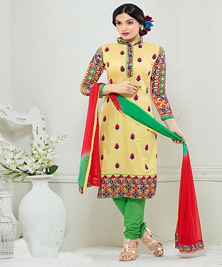 NEW ARRIVAL YELLOW AND GREEN STRAIGHT SUIT@ Rs.1730.00