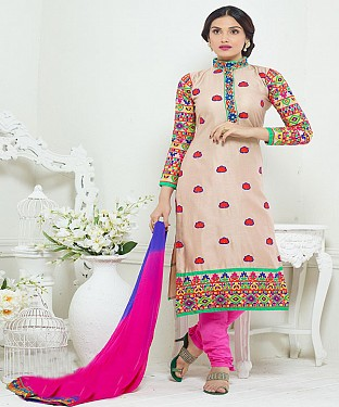 NEW ARRIVAL PINK STRAIGHT SUIT @ Rs1730.00