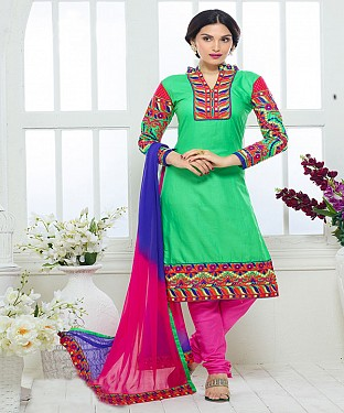 NEW ARRIVAL GREEN AND PINK STRAIGHT SUIT@ Rs.1730.00