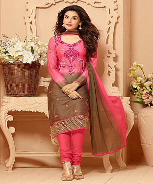 Cotton Embroidered Pink And Brown Straight Suits @ Rs1791.00