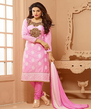 Cotton Embroidered Pink Straight Suits @ Rs1791.00