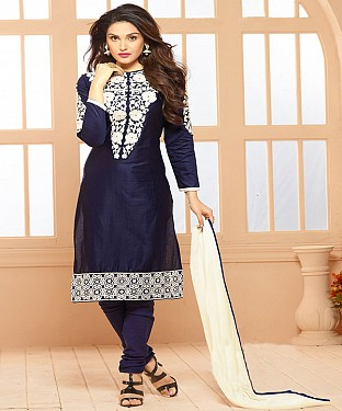Cotton Embroidered Navy Blue Straight Suits@ Rs.1791.00