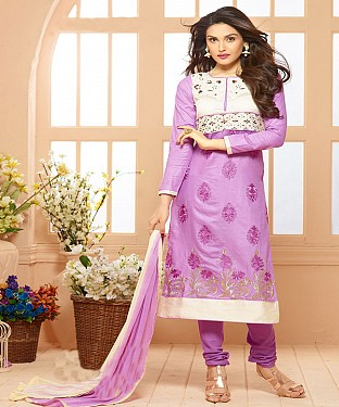 Cotton Embroidered Purple Straight Suits @ Rs1791.00
