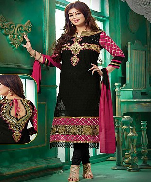 Exclusive Heavy Printed Designer Black Straight Suits @ Rs1112.00