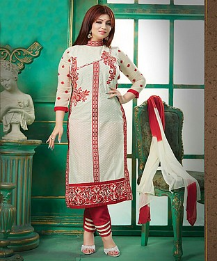 Exclusive Heavy Printed Designer White Straight Suits@ Rs.1112.00