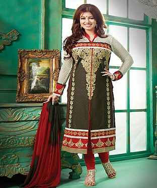 Exclusive Heavy Printed Designer Olive Green Straight Suits@ Rs.1112.00