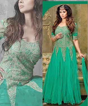 NEW ARRIVAL GREEN ANARKALI SUIT@ Rs.2100.00