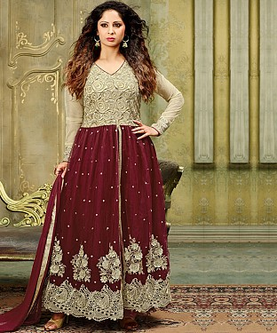 NEW ARRIVAL MAROON ANARKALI SUIT @ Rs2100.00