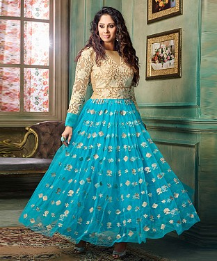 NEW ARRIVAL SKY ANARKALI SUIT @ Rs2100.00