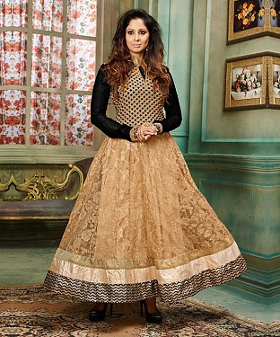 NEW ARRIVAL BLACK & BEIGE ANARKALI SUIT @ Rs2100.00