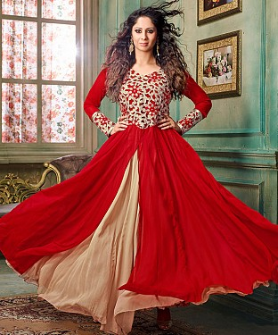 NEW ARRIVAL RED & BEIGE ANARKALI SUIT@ Rs.2100.00