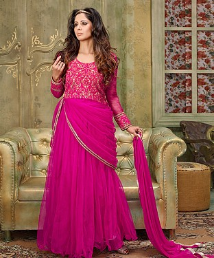 NEW ARRIVAL DARK PINK ANARKALI SUIT@ Rs.2100.00