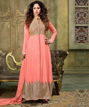 NEW ARRIVAL PEACH ANARKALI SUIT@ Rs.2100.00