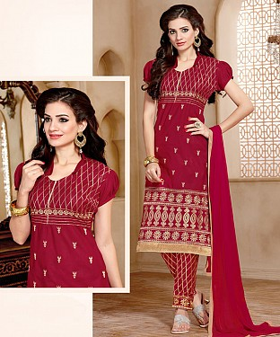 NEW ARRIVAL MAROON STRAIGHT SUIT@ Rs.926.00
