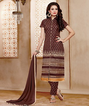 NEW ARRIVAL BROWN STRAIGHT SUIT@ Rs.926.00
