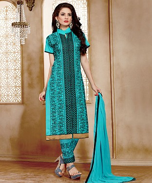 NEW ARRIVAL AQUA STRAIGHT SUIT @ Rs926.00