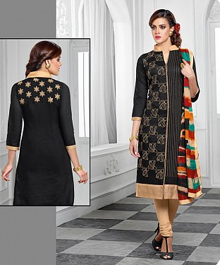 NEW ARRIVAL BLACK AND CREAM STRAIGHT SUIT @ Rs1421.00
