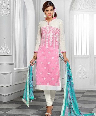 NEW ARRIVAL PINK AND OFF WHITE STRAIGHT SUIT@ Rs.1112.00