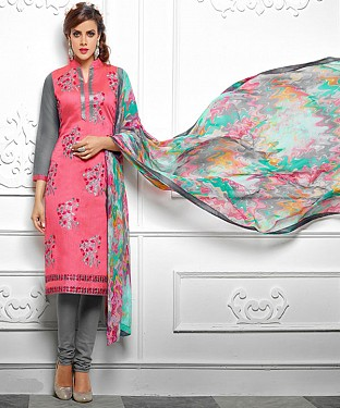 NEW ARRIVAL PINK AND GREY ANARKALI SUIT@ Rs.1112.00