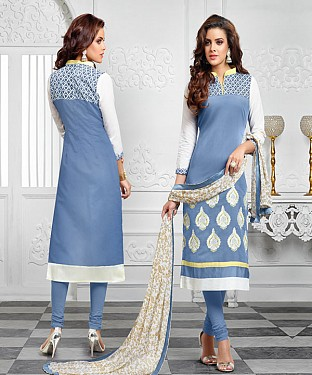 NEW ARRIVAL SKY BLUE AND OFF WHITE ANARKALI SUIT @ Rs1112.00
