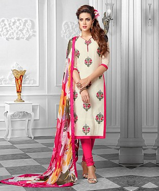 NEW ARRIVAL OFF WHITE AND PEACH ANARKALI SUIT @ Rs1112.00