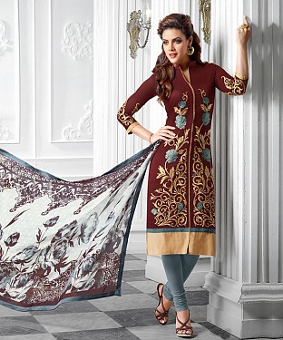 NEW ARRIVAL BROWN AND GREY ANARKALI SUIT @ Rs1421.00