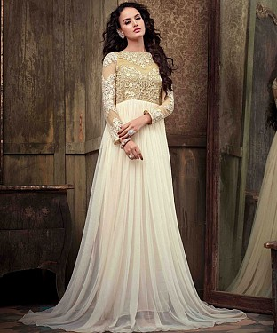 NEW ARRIVAL OFF WHITE ANARKALI SUIT@ Rs.1112.00