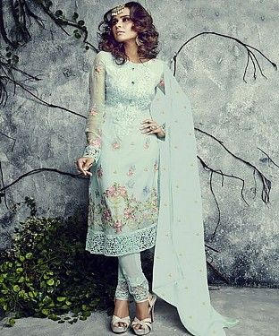 NEW ARRIVAL SKY STRAIGHT SUIT @ Rs1977.00