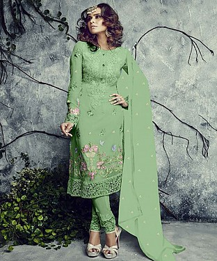 NEW ARRIVAL GREEN STRAIGHT SUIT @ Rs1977.00