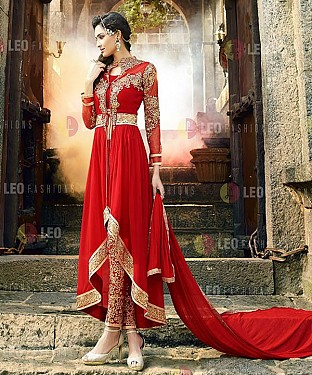 Red Heavy Designer Georgette Anarkali Suits @ Rs1112.00
