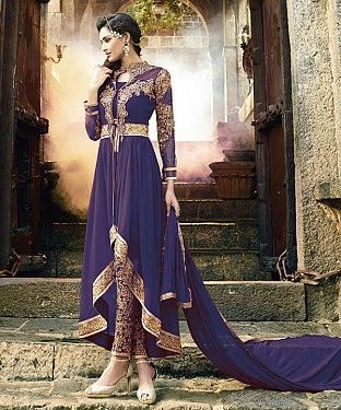 Navy Blue Heavy Designer Georgette Anarkali Suits@ Rs.1112.00
