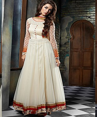 New Attractive Off white  Anarkali Suit @ Rs2100.00