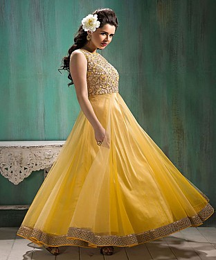 BarbieDoll Yellow Anarkali Suit @ Rs2286.00