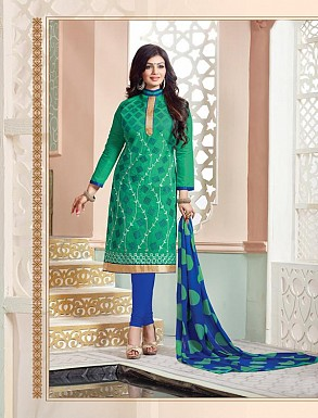 Heavy Green Cotton Salwar Kameez @ Rs926.00