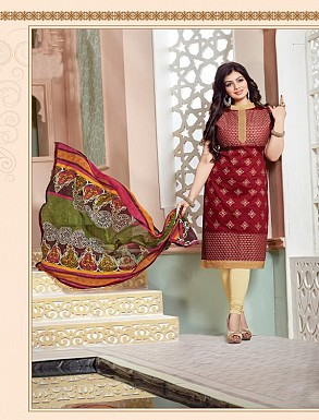 Heavy Maroon Cotton Salwar Kameez @ Rs926.00