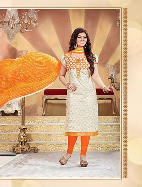 Heavy White Cotton Salwar Kameez @ Rs926.00