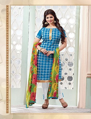 Heavy Blue Cotton Salwar Kameez @ Rs926.00