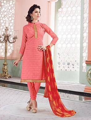 Heavy Pink Cotton Salwar Kameez @ Rs926.00