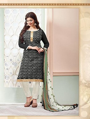 Heavy Black Cotton Salwar Kameez @ Rs926.00