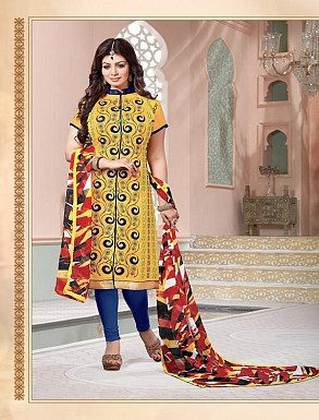 Heavy Yellow Cotton Salwar Kameez @ Rs926.00