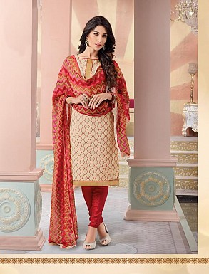 Heavy Cream Cotton Salwar Kameez @ Rs926.00